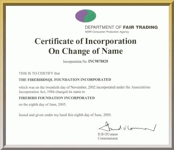 Firebird Certificate Of Incorporation On Change Of Name